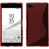 Silikon Hülle Xperia Z5 Compact S-Style rot + 2 Schutzfolien