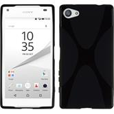 Silikon Hülle Xperia Z5 Compact X-Style schwarz + 2 Schutzfolien