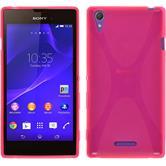 Silikon Hülle Xperia T3 X-Style pink + 2 Schutzfolien
