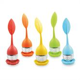 Niedliches Tee-Ei-Set aus Silikon 5 Stück (BPA-frei) und Edelstahl-Kugel für losen Tee in Blatt-Form in 5 verschiedenen Farben