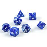 7 polyedrische Würfel für Rollen- und Tabletopspiele in blau mit Beutel