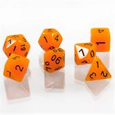 7x polyhedral glitter dice set for role and tabletop games in black including velvet bag