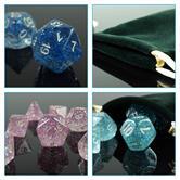 42 polyedrische Würfel für Rollen- und Tabletopspiele in 6 verschiedenen glitzernden Farben mit Beutel