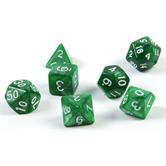 7 dés polyédriques pour les jeux de rôle et les en vert