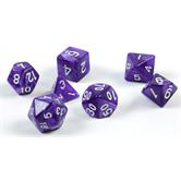 7x polyhedral cubes (dice set) for role and tabletop games in purple including velvet bag