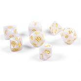 7x polyhedral cubes (dice set) for role and tabletop games in white including velvet bag