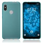 Silicone Case Redmi Note 6 Pro transparent turquoise + protective foils
