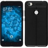 Silikon Hülle Redmi Note 5A Lederoptik schwarz Case