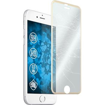 1 x Apple iPhone 6s / 6 Protection Film Tempered Glass clear curved with metal frames in gold