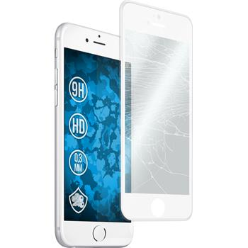 1x iPhone 6 Plus / 6s Plus klar full screen Glasfolie mit Silikonrahmen weiß