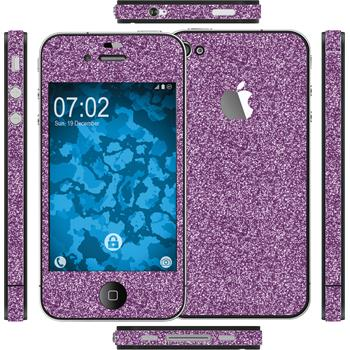 1 x Glitter foil set for Apple iPhone 4S purple protection film