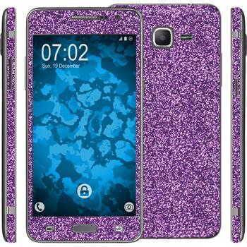 1 x Glitter foil set for Samsung Galaxy Grand Prime purple protection film
