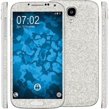 1 x Glitter foil set for Samsung Galaxy S4 silver protection film