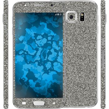 1 x Glitter foil set for Samsung Galaxy S6 gray protection film
