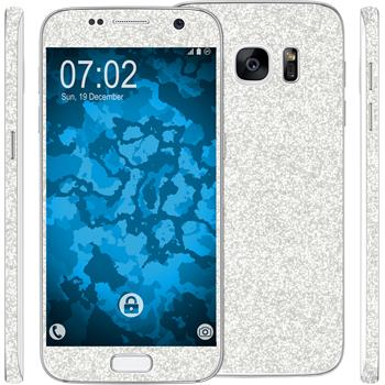 1 x Glitter foil set for Samsung Galaxy S7 silver protection film