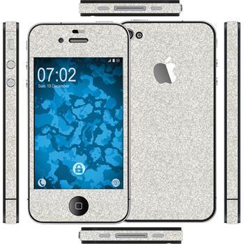 1 x Glitzer-Folienset für Apple iPhone 4S silber