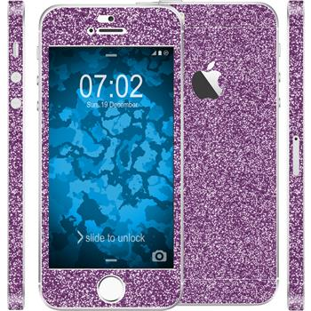 1 x Glitzer-Folienset für Apple iPhone 5 / 5s / SE lila