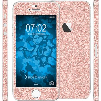 2 x Glitzer-Folienset für Apple iPhone 5 / 5s / SE rosa