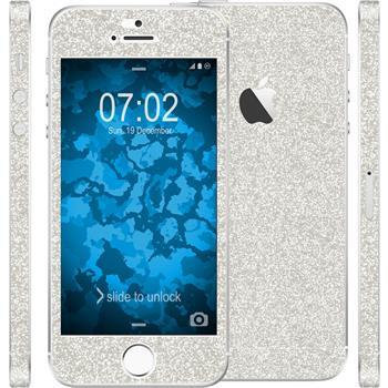 2 x Glitzer-Folienset für Apple iPhone 5 / 5s / SE silber