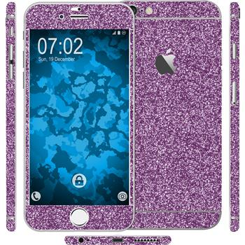 1 x Glitzer-Folienset für Apple iPhone 6 Plus / 6s Plus lila