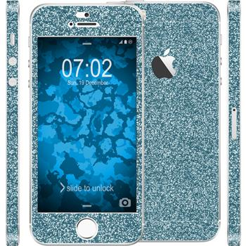 1 x Glitzer-Folienset für Apple iPhone SE blau