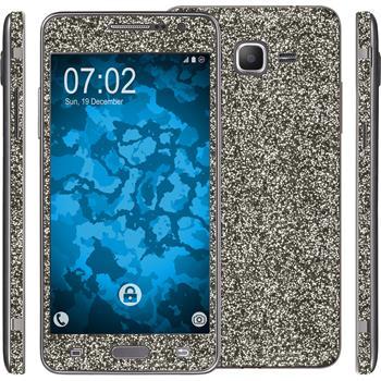 1 x Glitzer-Folienset für Samsung Galaxy Grand Prime schwarz