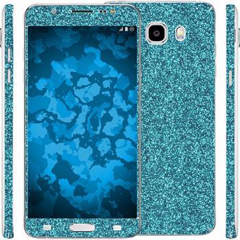 1 x Glitzer-Folienset für Samsung Galaxy J5 (2016) J510 blau