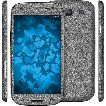1 x Glitzer-Folienset für Samsung Galaxy S3 grau