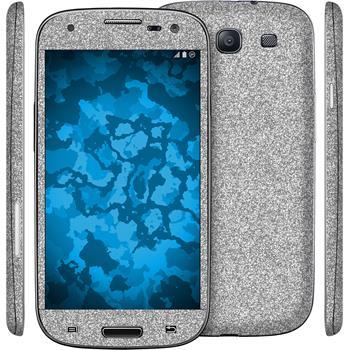 1 x Glitzer-Folienset für Samsung Galaxy S3 Neo silber