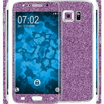 1 x Glitzer-Folienset für Samsung Galaxy S6 Edge Plus lila