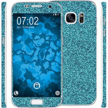 1 x Glitzer-Folienset für Samsung Galaxy S7 blau