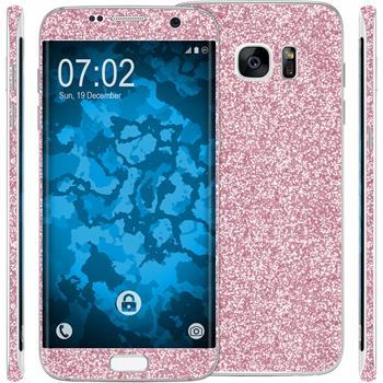 1 x Glitzer-Folienset für Samsung Galaxy S7 Edge rosa