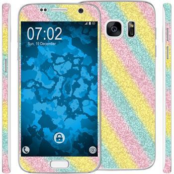 2 x Glitzer-Folienset für Samsung Galaxy S7 rainbow