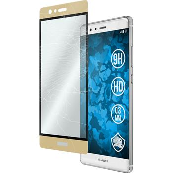 1x P9 klar full screen Glasfolie gold