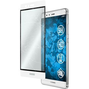 1x P9 Plus klar full screen Glasfolie weiß