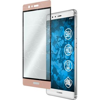 1 x Huawei P9 Protection Film Tempered Glass clear full screen Rose Gold