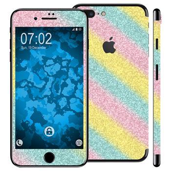 1 x Glitzer-Folienset für Apple iPhone 7 Plus rainbow
