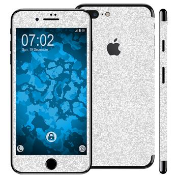 1 x Glitzer-Folienset für Apple iPhone 7 Plus silber