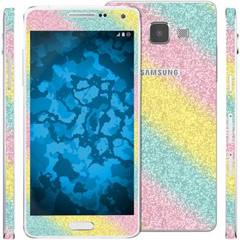 1 x Glitzer-Folienset für Samsung Galaxy A5 (A500) rainbow