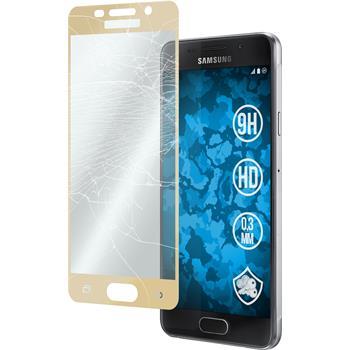 1 x Samsung Galaxy A3 (2016) A310 Glas-Displayschutzfolie klar full screen gold