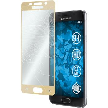 1 x Samsung Galaxy A3 (2016) A310 Protection Film Tempered Glass clear full screen gold
