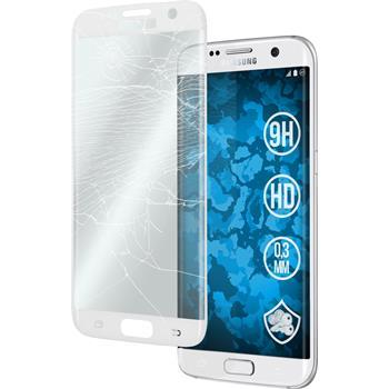 1 x Samsung Galaxy S7 Edge Glas-Displayschutzfolie klar full screen weiß
