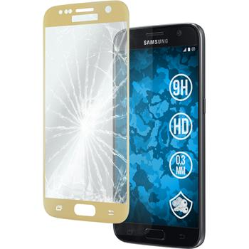 1x Galaxy S7 klar full screen Glasfolie gold