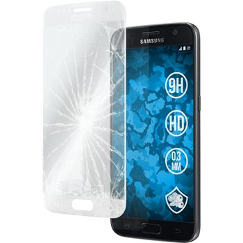 1x Galaxy S7 klar full screen Glasfolie silber