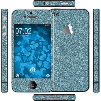 2 x Glitter foil set for Apple iPhone 4S blue protection film