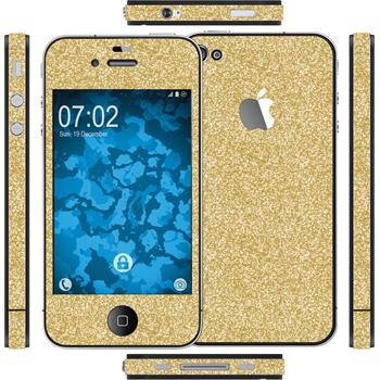 2 x Glitter foil set for Apple iPhone 4S gold protection film