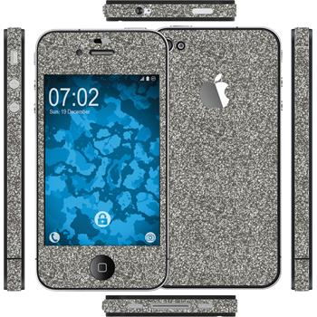 2 x Glitter foil set for Apple iPhone 4S gray protection film