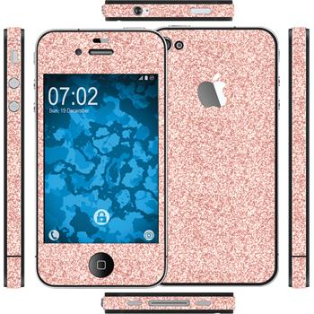 2 x Glitter foil set for Apple iPhone 4S pink protection film