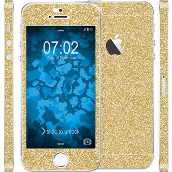 2 x Glitter foil set for Apple iPhone 5 / 5s / SE gold protection film