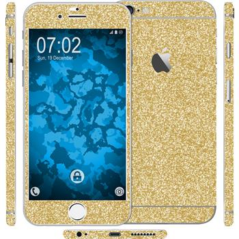 2 x Glitter foil set for Apple iPhone 6s / 6 gold protection film